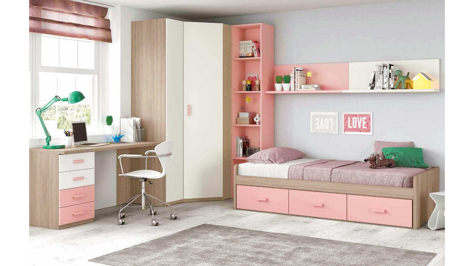 chambre ado fille douce et rose avec lit 3 coffres GLICERIO  SO NUIT