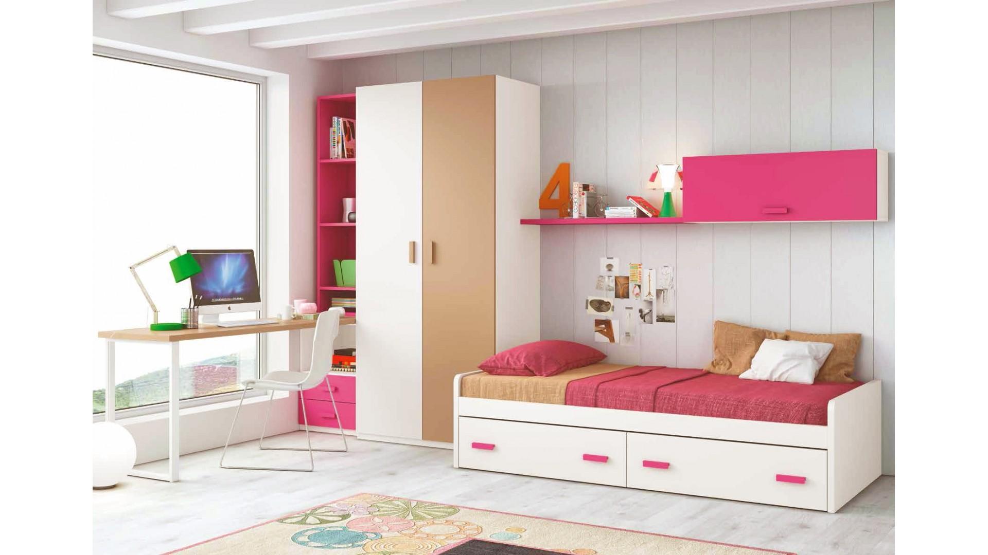 chambre pour ado fille composition l112 avec lit 2 coffres glicerio