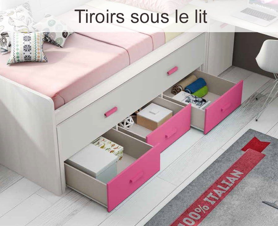 Lit Gigogne Avec 3 Tiroirs Moderne Amp Color GLICERIO