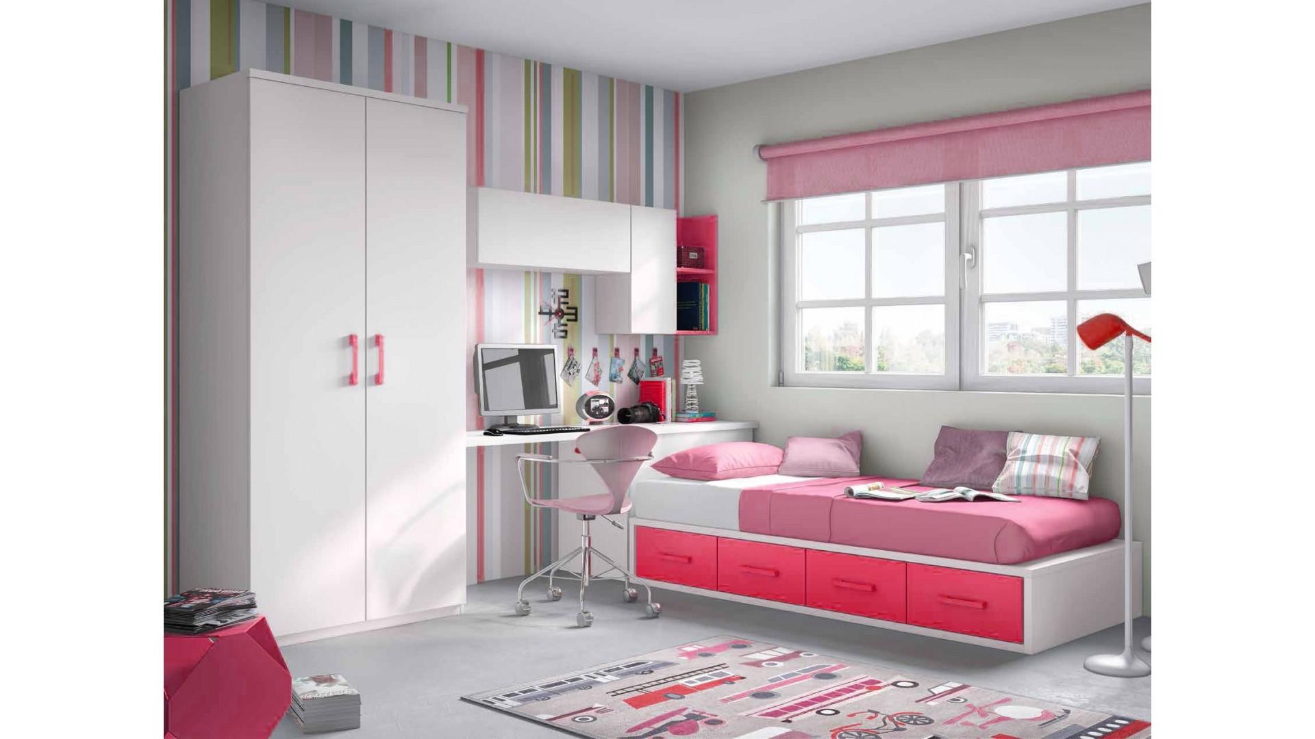 chambre pour ado fille avec lit 4 coffres personnalisable f154 glicerio