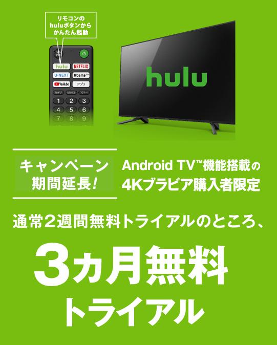 Hulu Android TV™ 機能搭載の4Kブラビア購入者限定 3カ月無料トライアル | テレビ ブラビア | ソニー