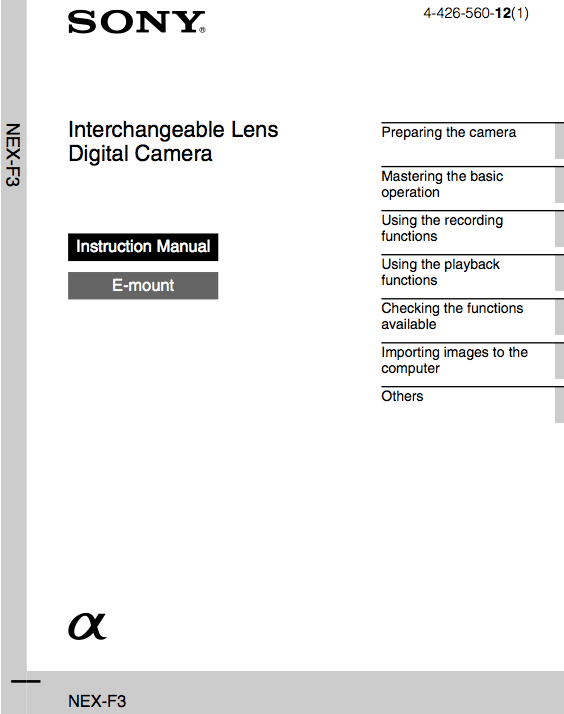 Sony NEX-F3 User Manual