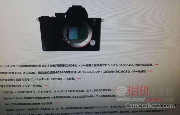 Camera Rumors Sony Alpha A7000 Coming - Year of Clean Water