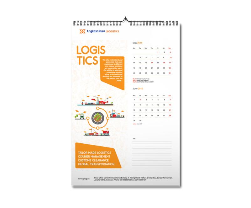pembuatan desain kalender perusahaan logistik Apolog calendar mock-up3