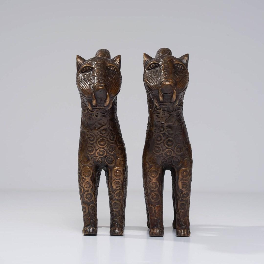 set of two benin leopards