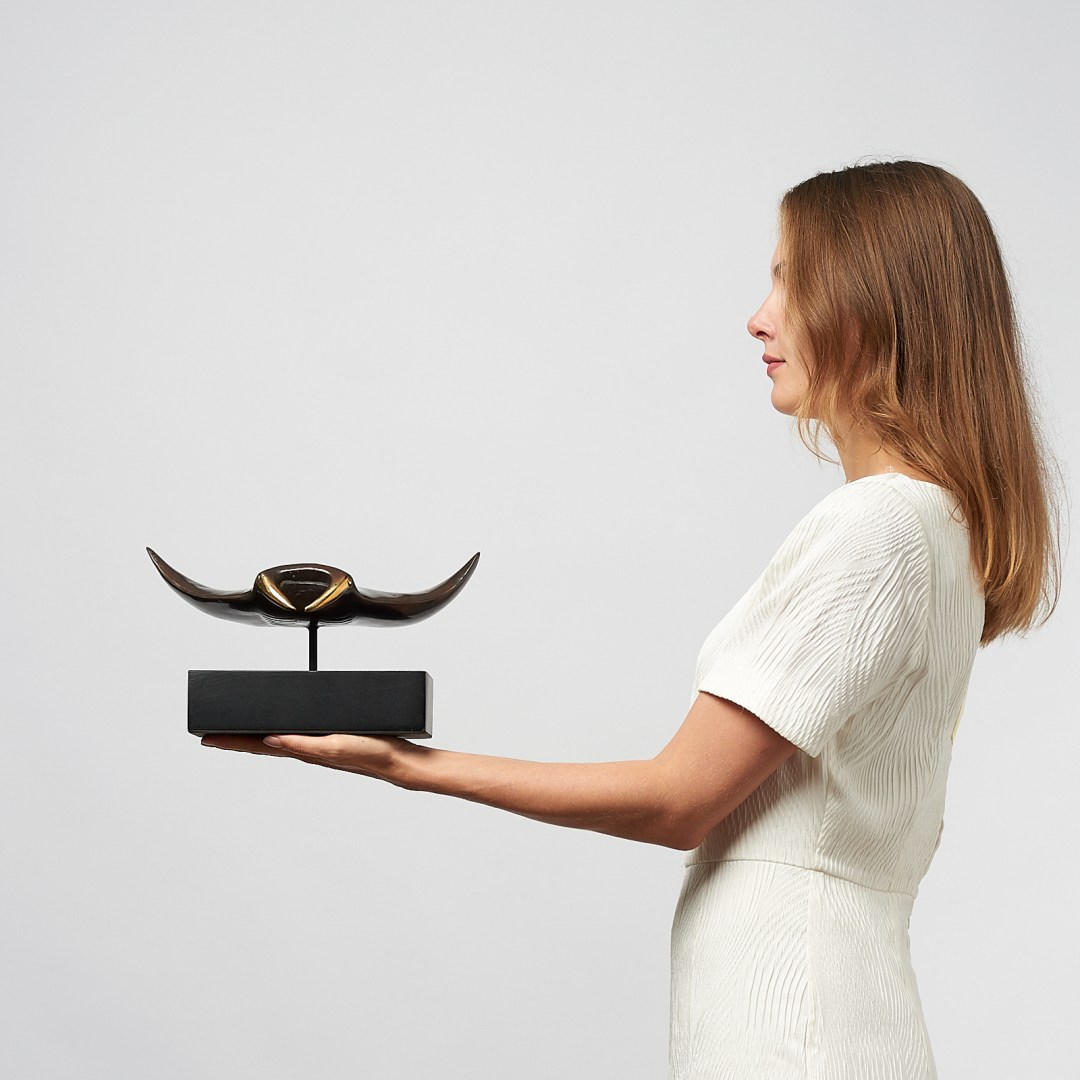 medium manta ray in bronze