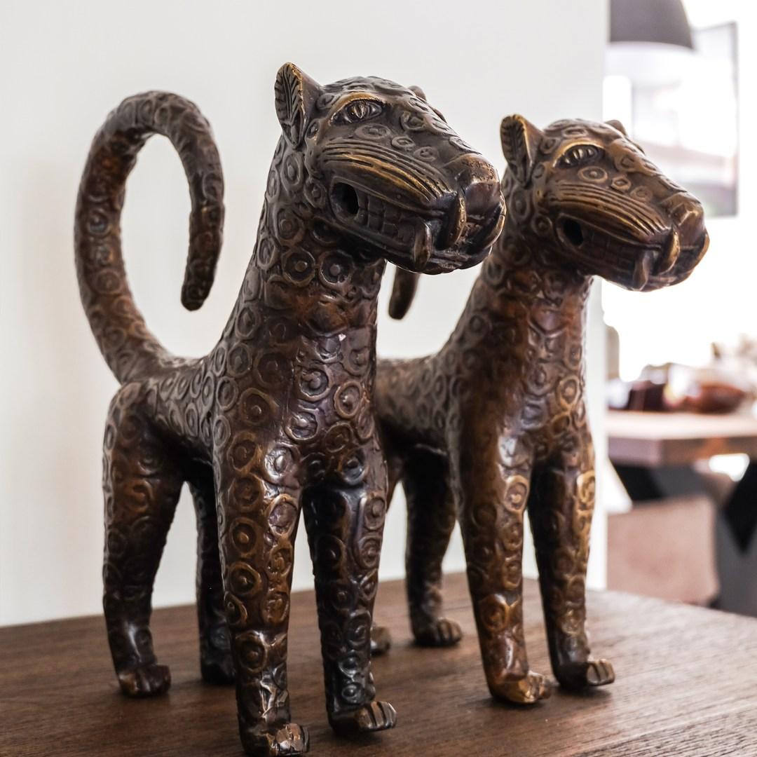 BENIN Leopard Bronze Sculptures Sooka Interior