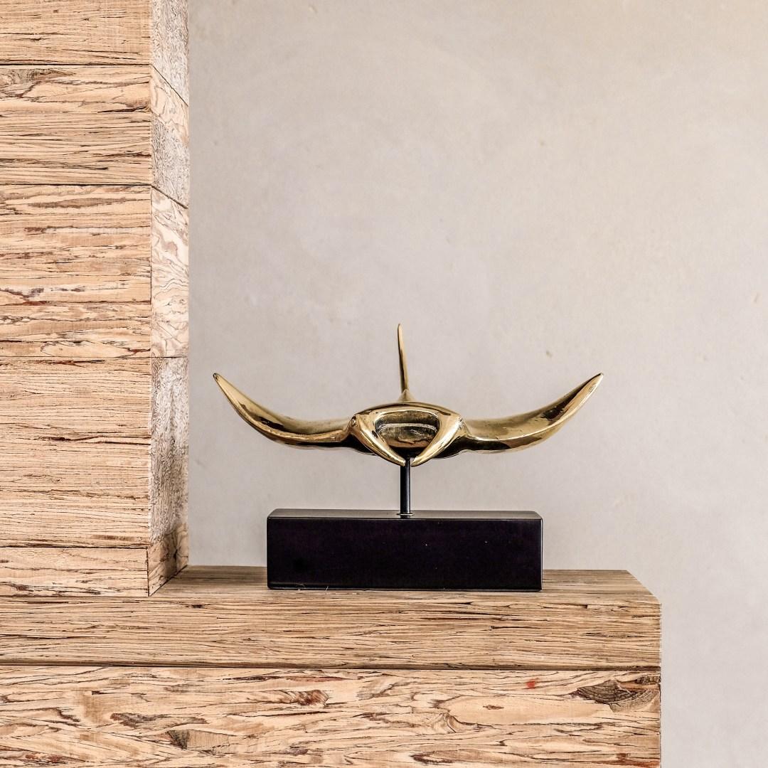 Manta Ray in polished bronze Sooka Interior