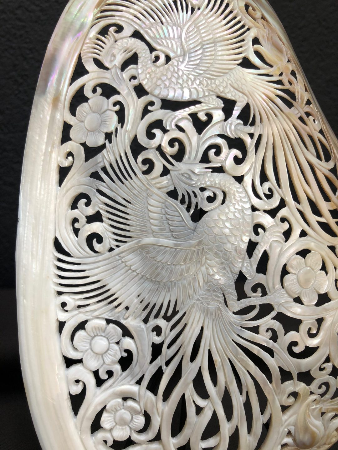 Carved Mother of Pearl Shell Birds of Paradise 2