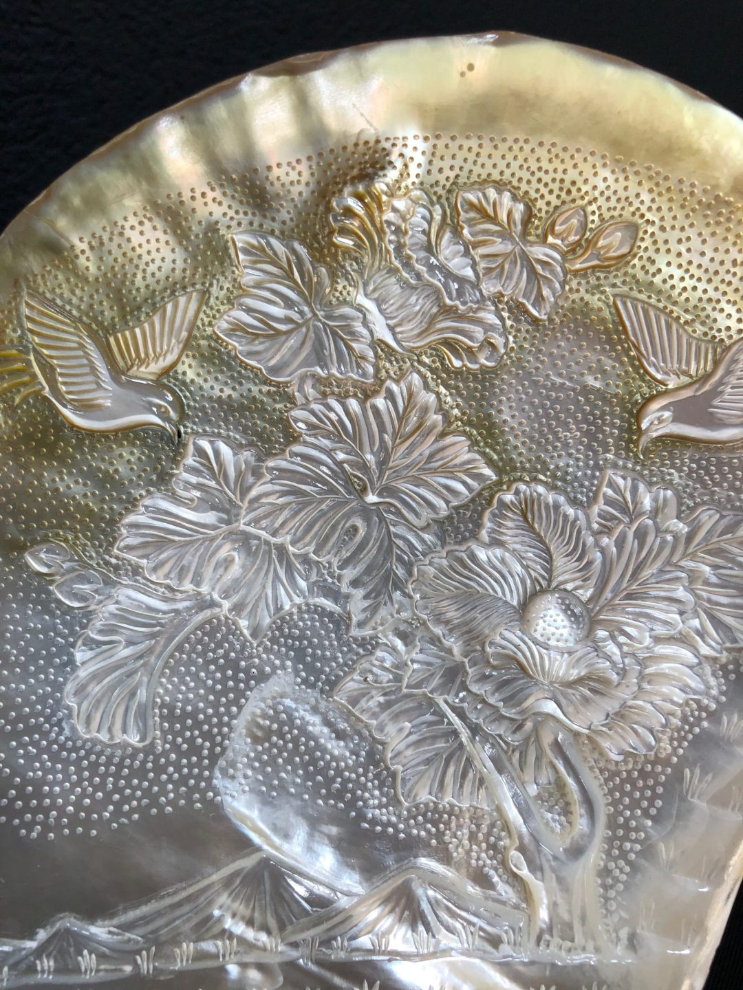 Carved Mother of Pearl Shell Hummingbird III