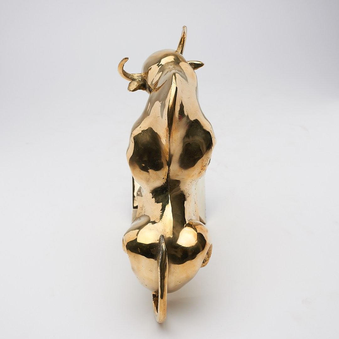 cubist bull in polished bronze