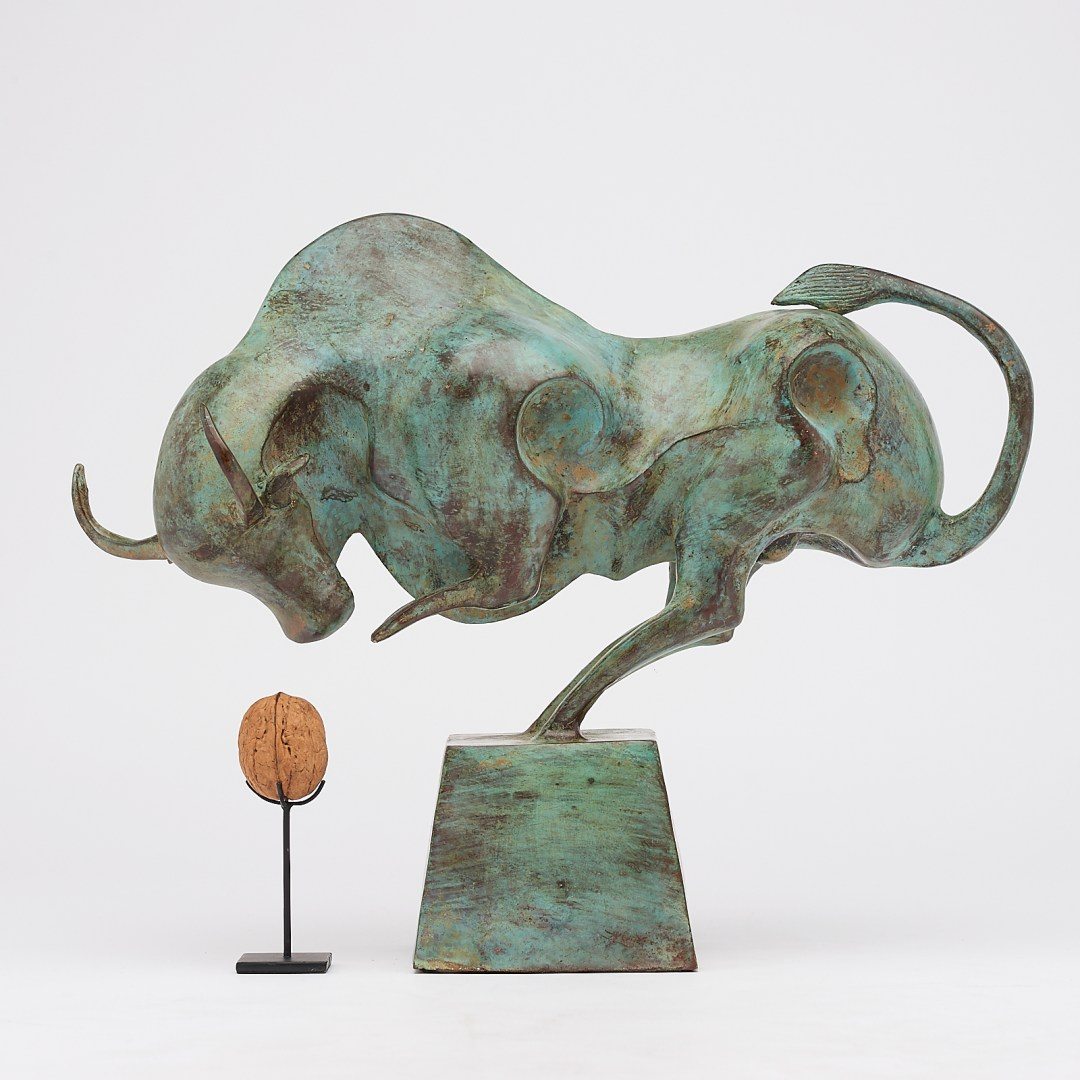 patinated cubist bull