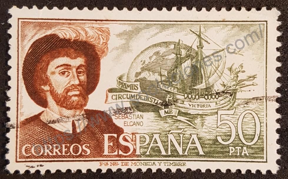 Sello España 1976 Elcano, Juan Sebastián