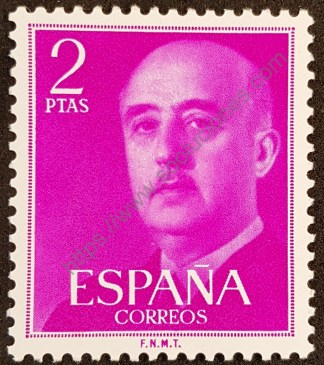 Sello España 1956 General Franco valor 2 pesetas
