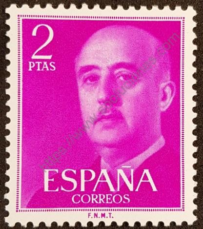 Sello España 1956 General Franco valor 2 pesetas