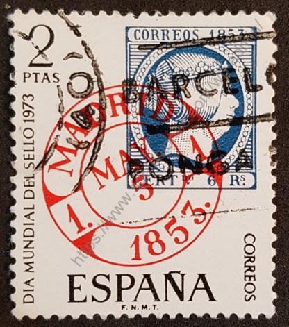 Sello España 1973 Día mundial del sello