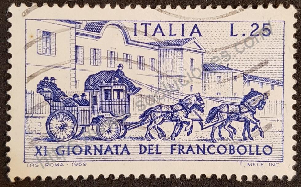 Sello Italia 1969 día del sello. XI Giornata del Francobollo