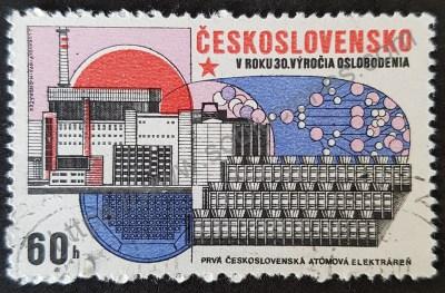 Sello Checoslovaquia 1975 central nuclear
