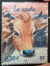 Sello la vaca Francia 2004 animales de granja