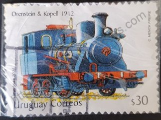 Sello Uruguay 2004 Locomotora Orenstein valor facial 30 $