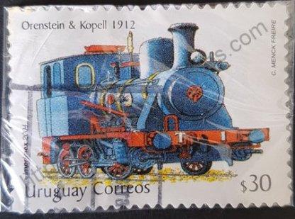 Sello Uruguay 2004 Locomotora Orenstein valor facial 30 $