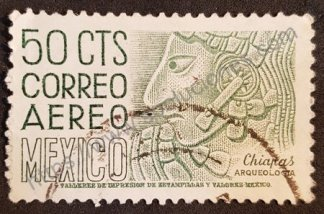 Sello México 1954 Cara Maya valor facial 50 c