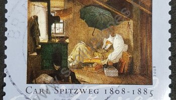 Aniversario nacimiento Carl Spitzweg sello Alemania