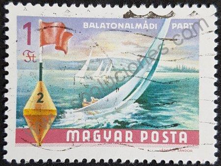 Estampilla: Hungría 1968 veleros en lago Balatón