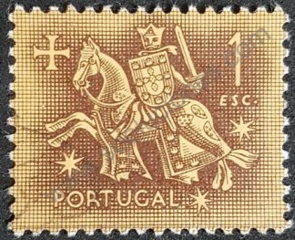 Sello Portugal 1953 Rey Dionisio valor facial 1 escudo