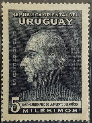 Sello de Uruguay año 1952 General Artigas busto
