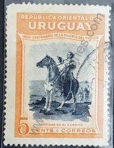 Sello Artigas en el Cerrito Uruguay 1952