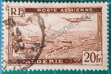 Sello Argelia 1946 Puerto Argel variante F con decorado
