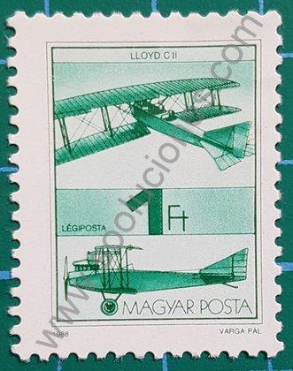 Sello Aeroplano LLoyd C II - Hungría 1988