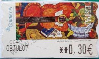 Sello ATM España 2005 Guitarra con frutas de Meléndez