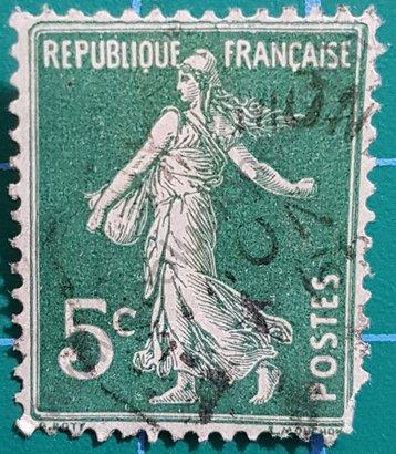 Sello Francia 1907 Sembrador valor facial 5c