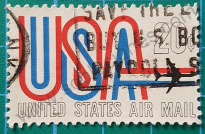 "Sello Estados Unidos 20 ¢ ""USA"" y avión"