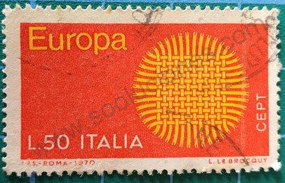 Sello Italia 1970 Europa C.E.P.T. 50 Liras