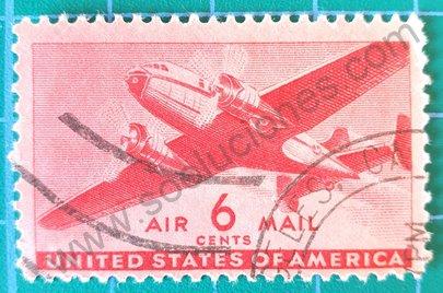 Sello Avión bimotor 6c Estados Unidos 1941