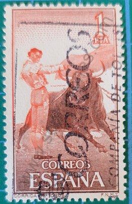 Sello Tauromaquia - Pase por alto - España 1960