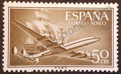 Avión Superconstellation 50 cts - España 1956