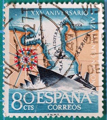 Sello Paso del estrecho 1961 España