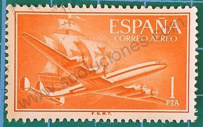 Avión Superconstellation - Sello España 1955 1 PTA