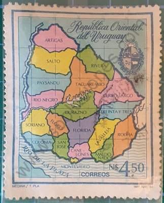 Mapa de Uruguay Sello de 1984 N$ 4,50