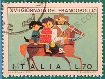 Niños y adulto en caballo - Sello Italia 1975