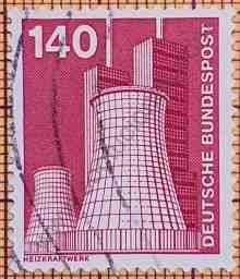 Altos hornos Chimeneas - Estampilla de Alemania año 1975