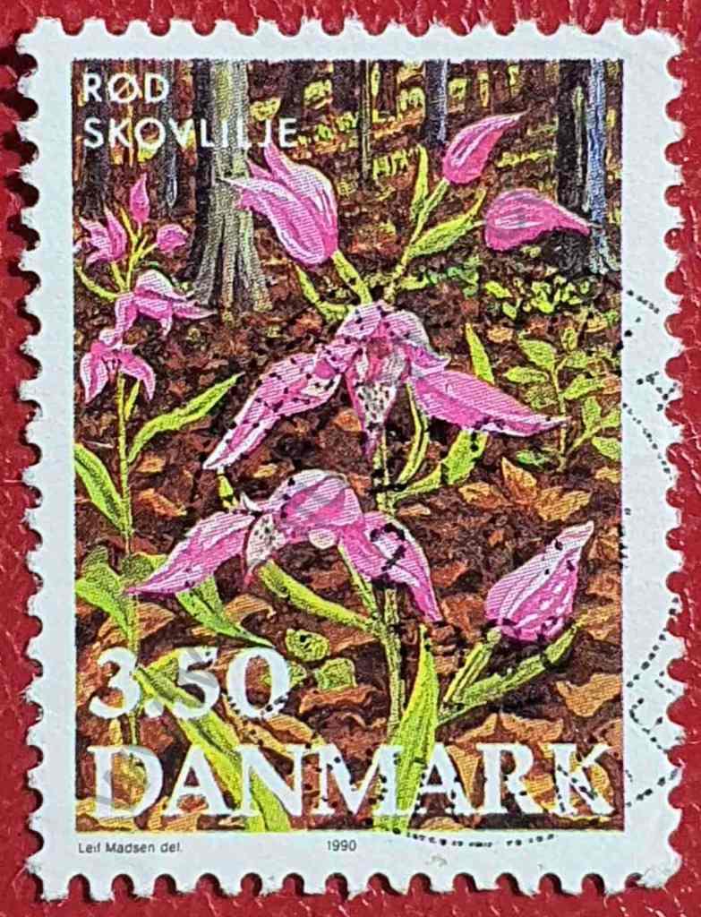 Orquídea Cephalanthera - Sello Dinamarca 1990