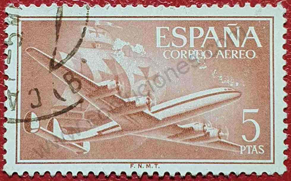 Avión y navío Santa María - Sello España 1955