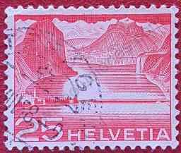 Presa lago de Lugano - Sello Suiza 1949