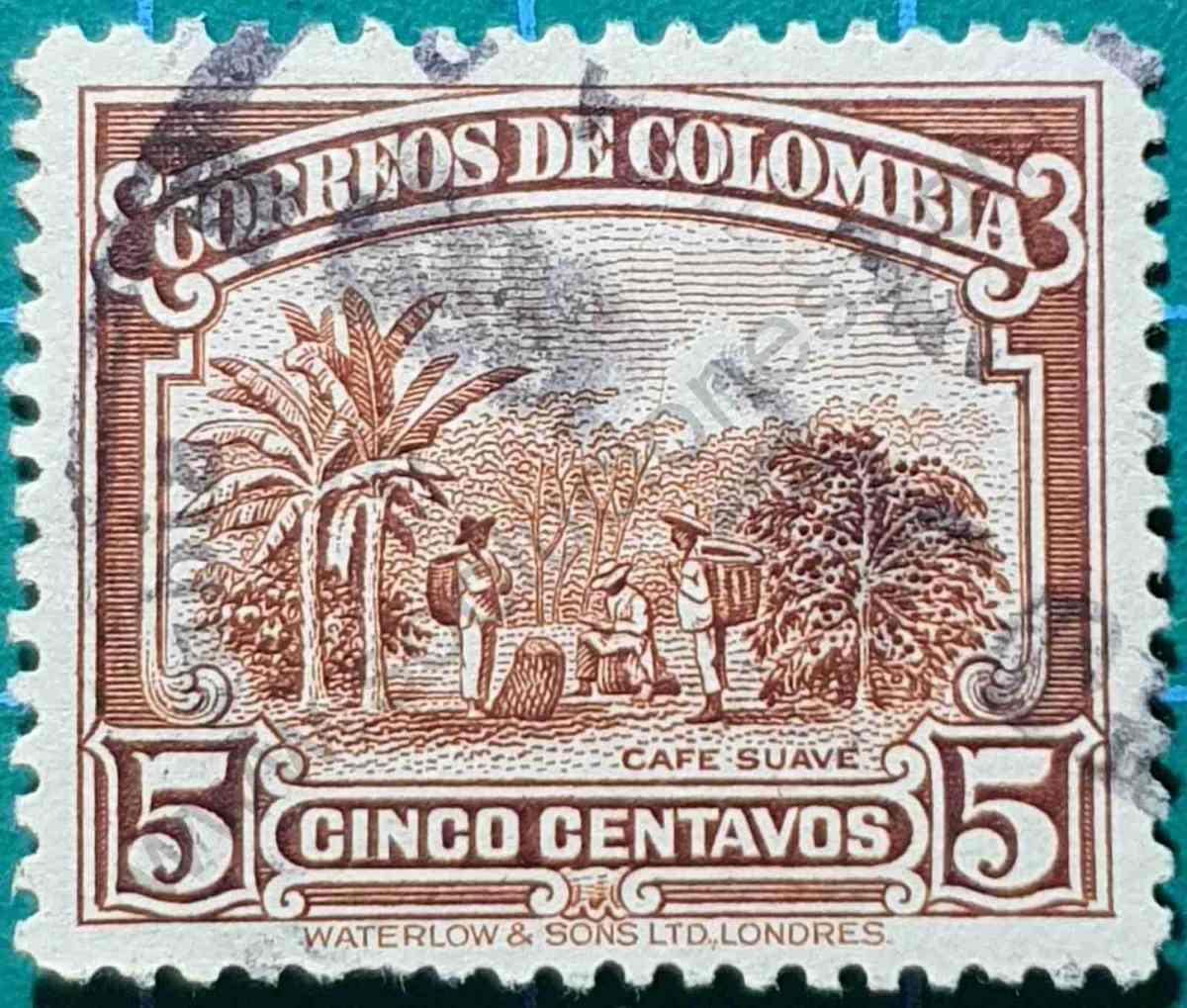 Cafetal - sello Colombia 1932