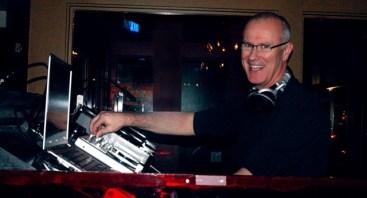 Jay Batson DJing at the Drupal 7 Release Party in Boston